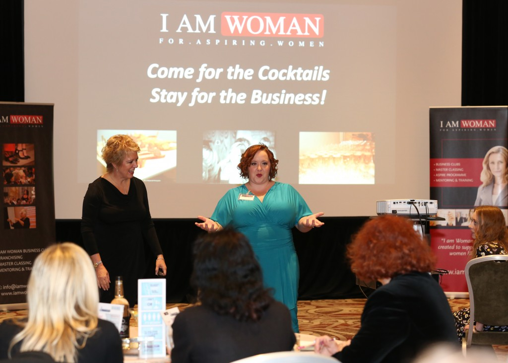 Ariana speaking at I AM WOMAN (Cardiff, Wales,UK) with Cheryl Bass, IAW Founder.